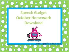 October Speech Homework - - Pinned by @PediaStaff – Please Visit ht.ly/63sNt for all our pediatric therapy pins