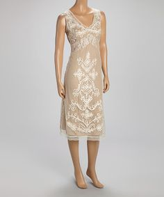 WANT!! LOVE!! LOVE!! LOVE!! WANT!!  Love this Taupe & Ivory Embroidered Lace Dress by Papillon Imports on #zulily! #zulilyfinds