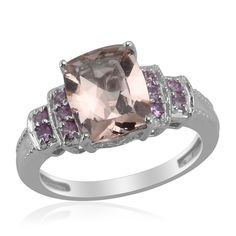 Liquidation Channel - Affordable Marropino Morganite (Cush 2.75 Ct), Pink Sapphire Ring in Platinum Overlay Sterling Silver Nickel Free (Size 6) TGW 3.05 cts.