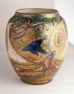 * Galileo Chini (1873-1956), Glazed Decorated Ceramic Vase.