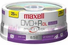 Disc DVD+R Double Layer 8.5GB 8X 25pk Spindle 0-25215-62642-5 by Maxell. $47.61. Disc DVD+R Double Layer 8.5GB 8X 25pk Spindle 0-25215-62642-5