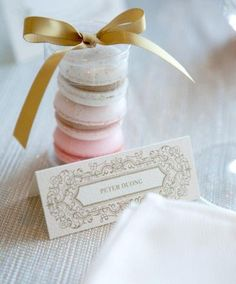 Trio of macarons for guest wedding favors Macaroon Wedding Favors, Macaron Favors, Wedding Favours Luxury, Honey Wedding Favors, Creative Wedding Favors, Inexpensive Wedding Favors, Cheap Favors, Wedding Favors For Guests, Wedding Gifts