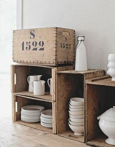 Vintage French Crates for Ironstone collection. Pallet Crates, Wood Crates, Wooden Boxes, Wooden Case, Natural Living, Natural Interior, Decoration Inspiration, Do It Yourself Home, Little Houses