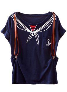 Navy Scarf Print Pocket Batwing T-Shirt