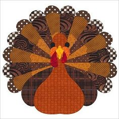 Free Thanksgiving Turkey Quilt Block Pattern by Sindy Rodenmayer - sew-whats-new.com.  Make In wool!
