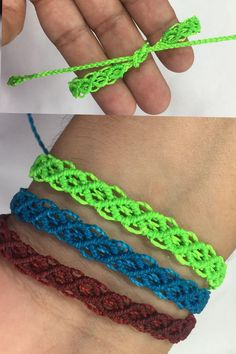 knitting projects for kids Diy Friendship Bracelets Patterns, Diy Bracelets Easy, Bracelet Crafts, Jewelry Crafts, Braided Bracelets, Macrame Bracelet Patterns, Macrame Bracelet Tutorial, String Bracelets, Hemp Bracelets
