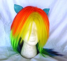 Rainbow Dash Wig MLP Costume Wig My Little Pony Cosplay Burlesque Friendship is Magic. $60.00, via Etsy.