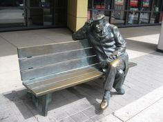 Glen Gould sculpture in front of CBC Toronto