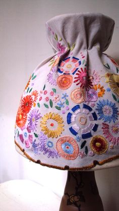 Lampshade - handmade with vintage floral embroidered linen.