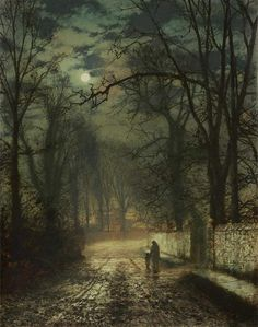 John Atkinson Grimshaw, Moonlit Lane, 1873.....lead away the children