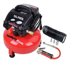 PowRyte Basic 3 Gallon Oil-Free Pancake Portable Air Compressor (Compressor w/Tire Inflator Kit)