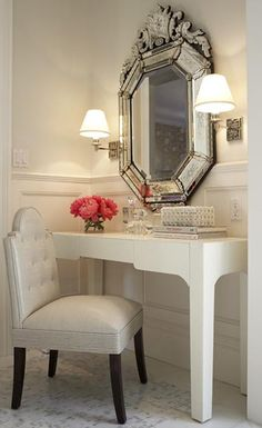 i love this idea. Definitely a different mirror. Wall lamps are super cute.
