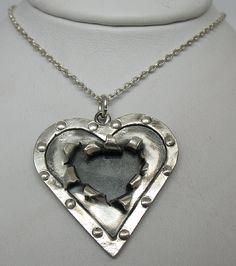 Cracked Heart. Handmade Sterling Silver Pendant.    Briar & the Rose Custom Designs