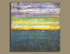 sunset painting, abstract painting of sunset, ocean painting (16x16) Deep Ocean Sunset