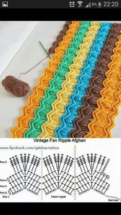 Crochet Stitches Design I love the color choices in this crochet vintage fan ripple blanket made by Chiaki of Chiaki Creates! - I love the color choices in this crochet vintage fan ripple blanket made by Chiaki of Chiaki Creates! Crochet Ripple, Knit Or Crochet, Crochet Crafts, Crochet Stitches, Crochet Hooks, Crochet Projects, Ripple Afghan, Crochet Blankets, Crochet Afghans
