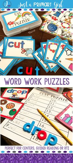 Word Work Puzzler is a differentiated hands on activity. Students will use magnetic letters to manipulate sounds and build words. Puzzler reinforces dolch sight words, cvc, ccvc, digaphs, ending blends, long vowels and vowel teams. Puzzler can be used with small groups, guided reading groups, or for intervention. This game is engaging and fun word work practice. First grade|Kindergarten|Daily5|Daily Five|Dolch Sight Words| Word Work Activities|Guided Reading Activity