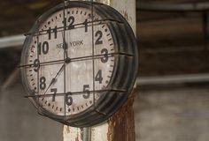 Caged Metal Gym Clock - From Antiquefarmhouse.com - http://www.antiquefarmhouse.com/past/bathroom3/caged-metal-gym-clock.html