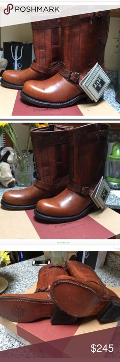Frye 150th anniversary 8r engineer boots Brand new frye boots with tags and box,bought from saks they do have a few marks and scuffs from being tried on.I bought them that way They were the last pair in my size,very gorgeous cognac colored boots. Shoes Combat & Moto Boots