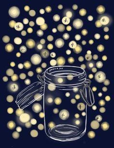 DIY Printable Thumbprint Tree Guest Book Alternative: Fireflies in Mason Jar on Etsy, $20.00