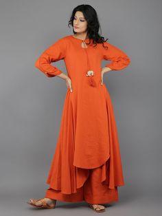 Orange 'Baby Elephant' tassel Khadi Kurta with Palazzo - Set of 2
