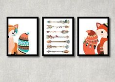 Tribal Fox Set Woodland Nursery Decor by ColorfulCloudStudio
