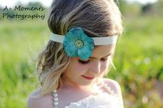 Teal Dogwood Blossom Headband with Gemstone Flower by djcjlw