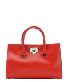 Jimmy Choofire leather and suede 'Riley' top handle tote