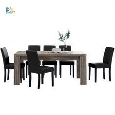Jedálenská zostava 1+6. Elegantný jedálenský stôl 170x79 cm s delenou doskou pre 8 osôb. Vo farbe tmavý dub spolu so 6 jedálenskými stoličkami. Stoličky sú čalúnené čiernou ekokožou.