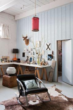 Un coin bureau dans un loft à new york , office in a loft