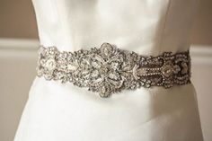 Bridal sash in antique silver - 18 inches from MillieIcaro