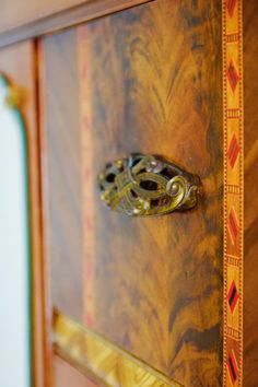 Hardware detail on a 1930s art deco cabinet