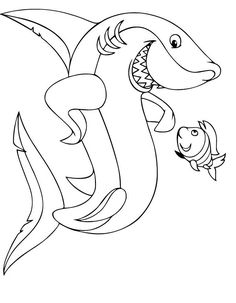 Friendly shark coloring page Shark Coloring Pages