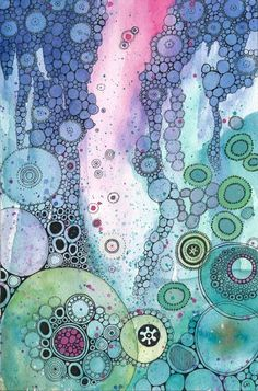 Art lessons, watercolor circles, watercolor and ink, abstract watercolor, w Art Aquarelle, Abstract Watercolor, Watercolor And Ink, Watercolor Circles, Watercolor Paintings, Doodle Drawing, Doodle Art, Painting & Drawing, Alcohol Ink Painting