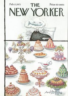 The New Yorker Cat Feast Cover, 1973 by v.valenti, via Flickr