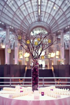 purple modern wedding centerpieces