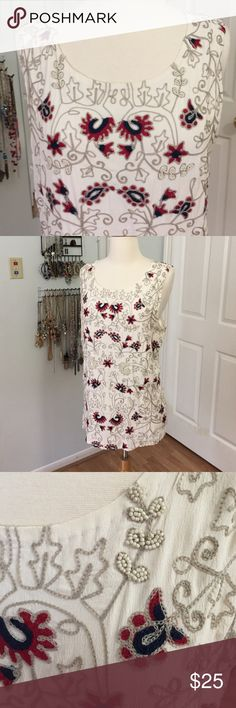 Lucky Brand Embroidered Sleeveless Top Brand new, no tags. Truly unique embroidered and beaded top by Lucky Brand. Fully lined. Gorgeous! Lucky Brand Tops