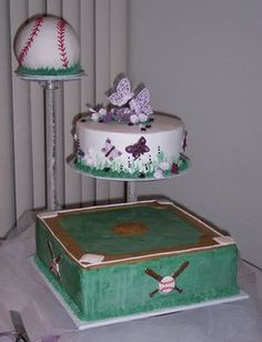 Baseball Groom's Cake. Put a softball on top instead and this would be perfect for chad!! :)