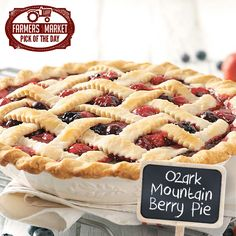 I think the best berries in the world are grown in the Ozarks. We own a small berry farm, and this is one of my favorite recipes. It's delicious served warm. Blueberry Desserts, Just Desserts, Delicious Desserts, Yummy Food, Fruit Recipes, Pie Recipes, Dessert Recipes, Sweet Recipes, Just Pies