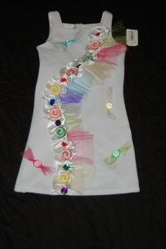 Candy Land party outfit... an easy project to make with a dress she already has.