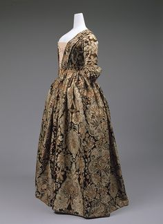 ~Dress, ca. 1735 British Heavy silk with lace pattern design woven in beige and rust on a dark brown satin ground | Heilbrunn Timeline of Art History | The Metropolitan Museum of Art~