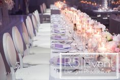 Runner of Floating Candles and Flowers all along the head table- by Event Design Crystal Candelabra, Floating Candle Centerpieces, Wedding Decorations, Table Decorations, Event Company, Bat Mitzvah, Corporate Events, Event Design, Floral Design