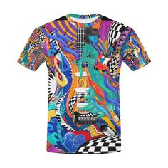 0a3984982 Colorful Guitar Music T Shirt by Juleez All Over Print T-Shirt for Men (