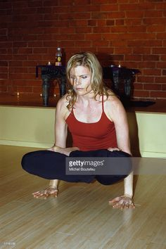 Author Mariel Hemingway is seen during a demonstration of yoga to promote her new book 'Finding My Balance' at The Los Angeles Yoga Center on January 8, 2003 in Westwood, California.