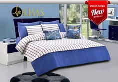 Nothing beats the comfort of classic blue jeans. Our digital denim print bed set, with classic clean lines and a vibrant pop of colour is perfect for your boys' bedroom! Product: Denim Stripe - Blue Shop Online:https://goo.gl/49CkHv ‪#‎boys‬ ‪#‎kidsbedding‬ ‪#‎khas‬ ‪#‎khasstores‬
