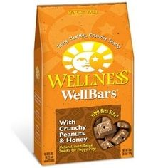 Enjoy Wellness Wellbars Peanut Honey (6x20Oz). Wellness WellBars are baked to crunchy perfection using wholesome ingredients like yogurt, apples, lamb and bananas. Not just empty calories, these bite-size nuggets are power-packed with antioxidants. Snack time or anytime, WellBars offer quality nutrition and are a natural complement to a healthy diet. Great for dogs with grain allergies. Note: description is informational only. Please refer to ingredients on the product before use. Please…