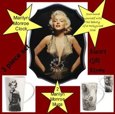 Marilyn Monroe Clock & 2 coffee latte tea mugs Hollywood legend movie star Free s http://stores.ebay.com/Slems-Gift-Store  or order directly from me at dslem3@yahoo.com for 10% off your order!