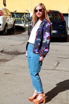 floral and denim on the streets of Milan.
