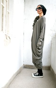 Oversize Military Green Loose Casual Ribbed Top / Asymmetric Raglan Long Sleeves Tunic Maxi Blouse