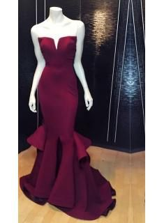 Sexy V-neck Sleeveless Mermaid Prom Dress With Ruffles