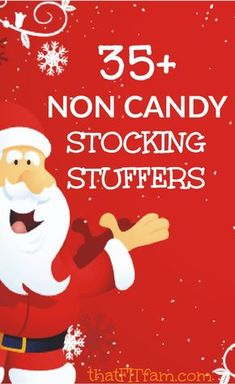 non candy stocking stuffers for any age. GREAT TRADITIONS AND GIFT IDEAS FOR CHRISTMAS Non candy stocking stuffers for family members of all ages. Save yourself the unnecessary sugar and stock up on these great small gifts. All Things Christmas, Holiday Fun, Holiday Gifts, Christmas Holidays, Christmas Crafts, Christmas Decorations, Christmas Ideas, Holiday Ideas, Santa Gifts